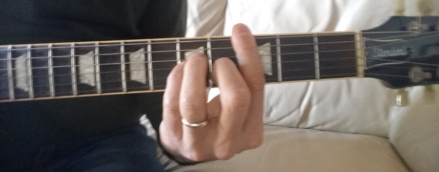 c minor chord bar shape fingering 5th string