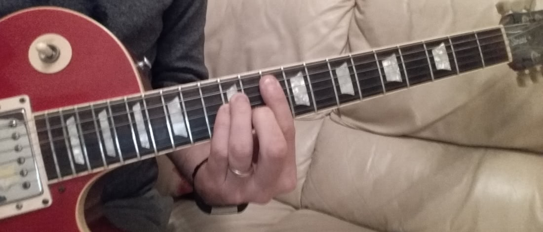 Gm guitar chord notes on the fretboard