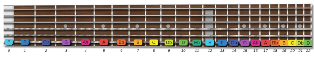 first 12 frets of the guitar