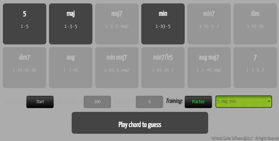 chords recognition online game