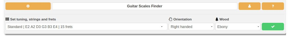 settings of the scale finder software: tuning, left-handed layout